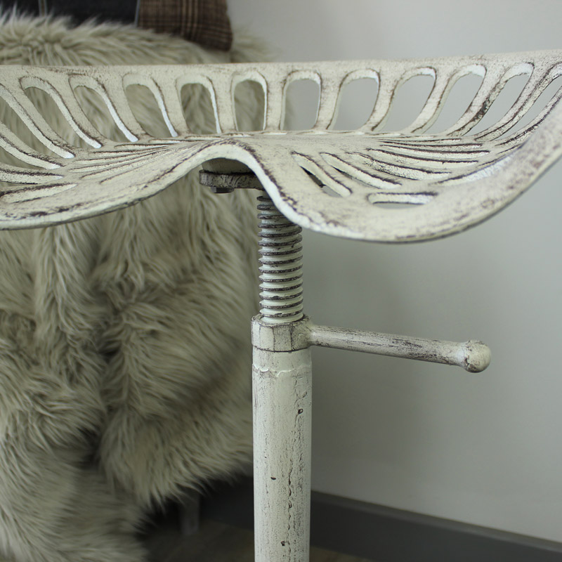 White Tractor Seat Bar Stool