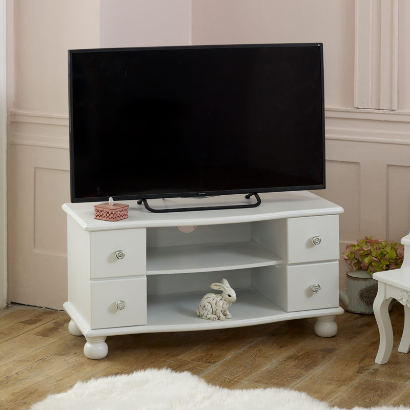 White TV Cabinet with Rose Shaped Handles - Lila Range