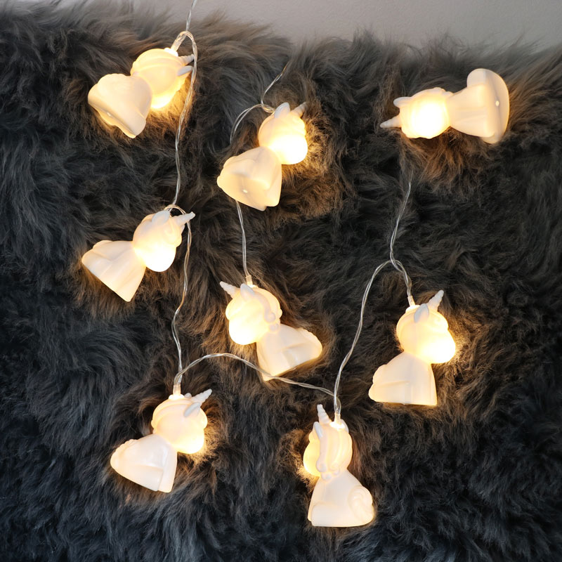 White Unicorn String Fairy Lights