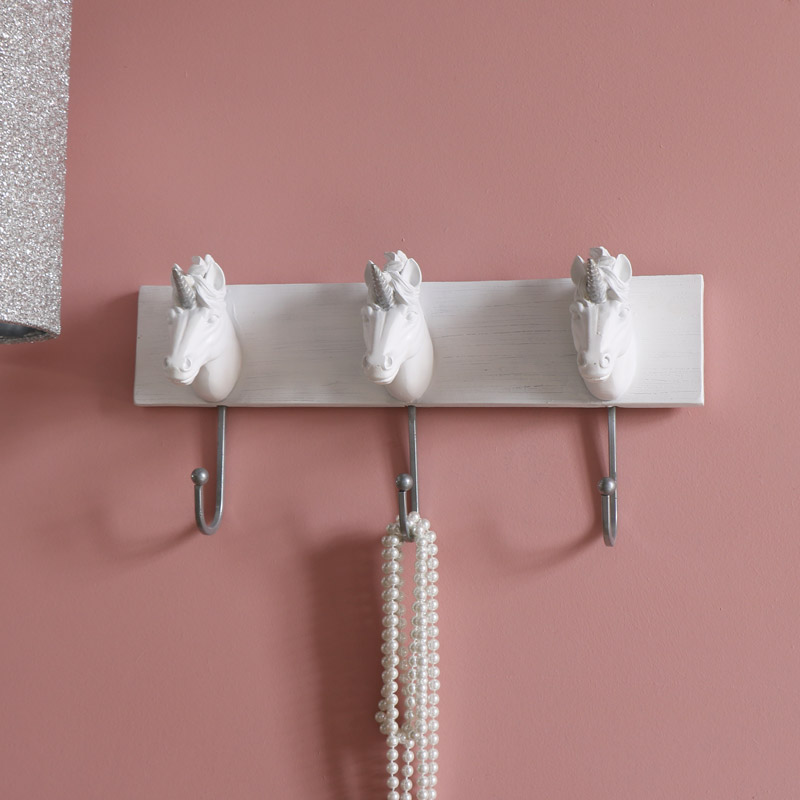 White Unicorn Triple Coat Hooks