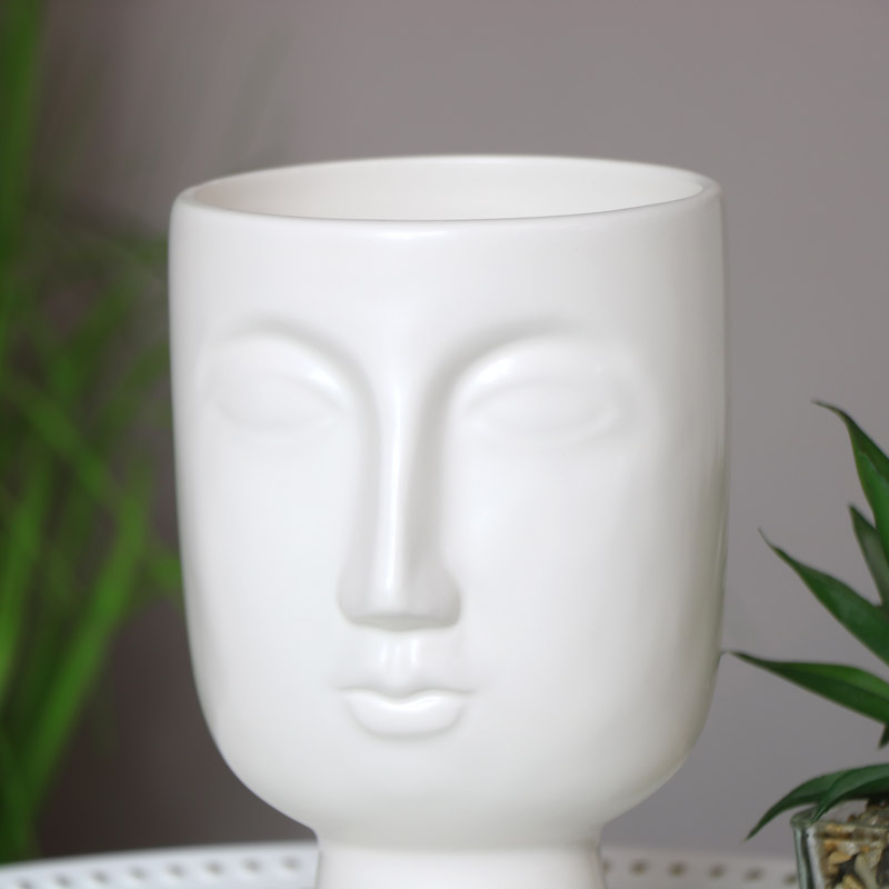 White Vase with Face Detail