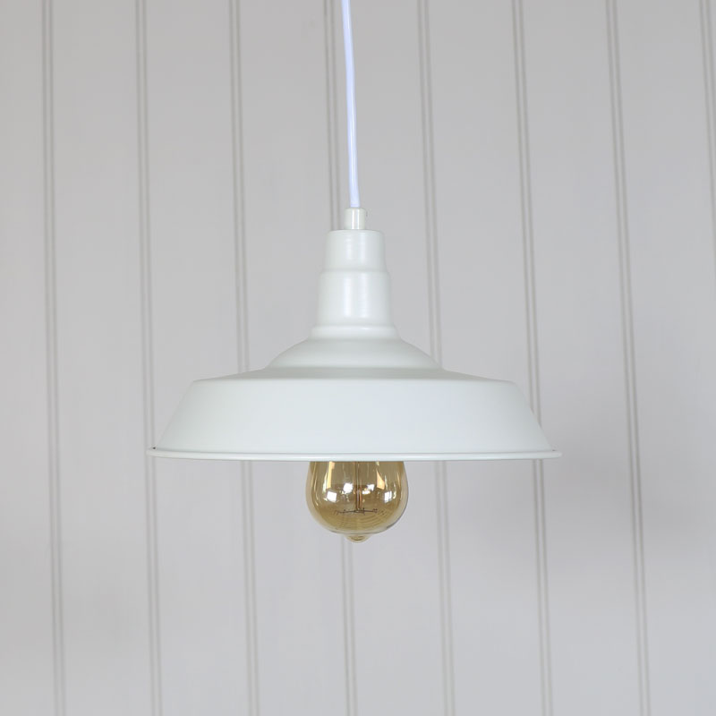 White Vintage Industrial Barn Style Pendant Light Fitting