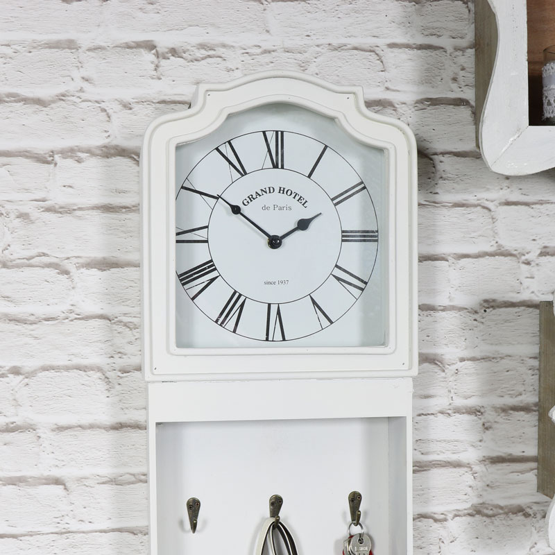 White wall mounted grandfather style clock shabby vintage chic roman numeral ebay - Wall mounted grandfather clock ...