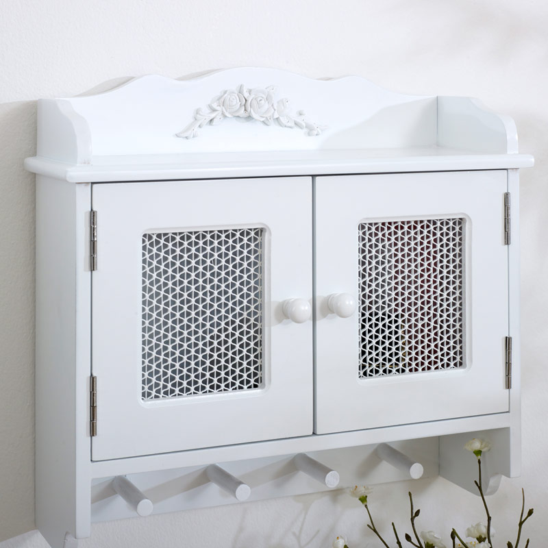 White Wall Cabinet with Hooks