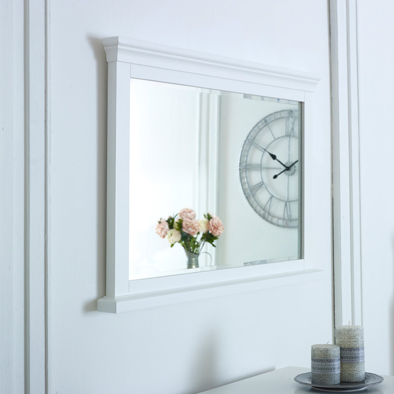 White Wall Mirror - Newbury White Range 100cm x 60cm