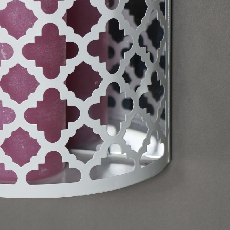 White Wall Mounted Moroccan Style Mirrored Candle Sconce