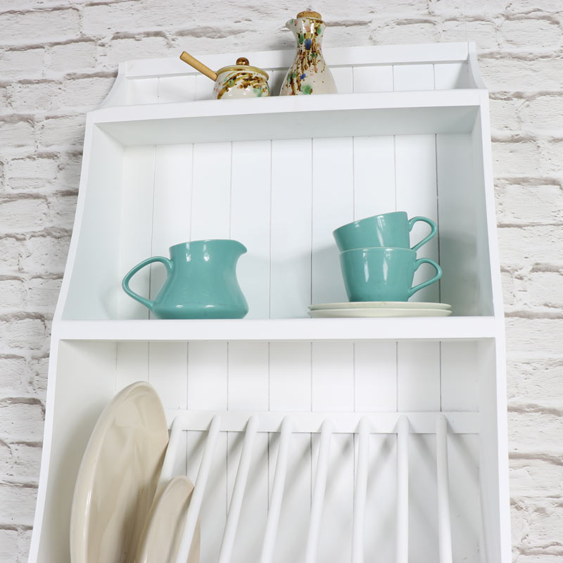 White Wall Mounted Wooden Plate Rack With Hooks Melody