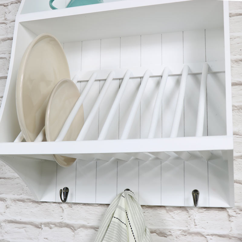 White wall mounted wooden plate rack with hooks melody for White wall hook rack