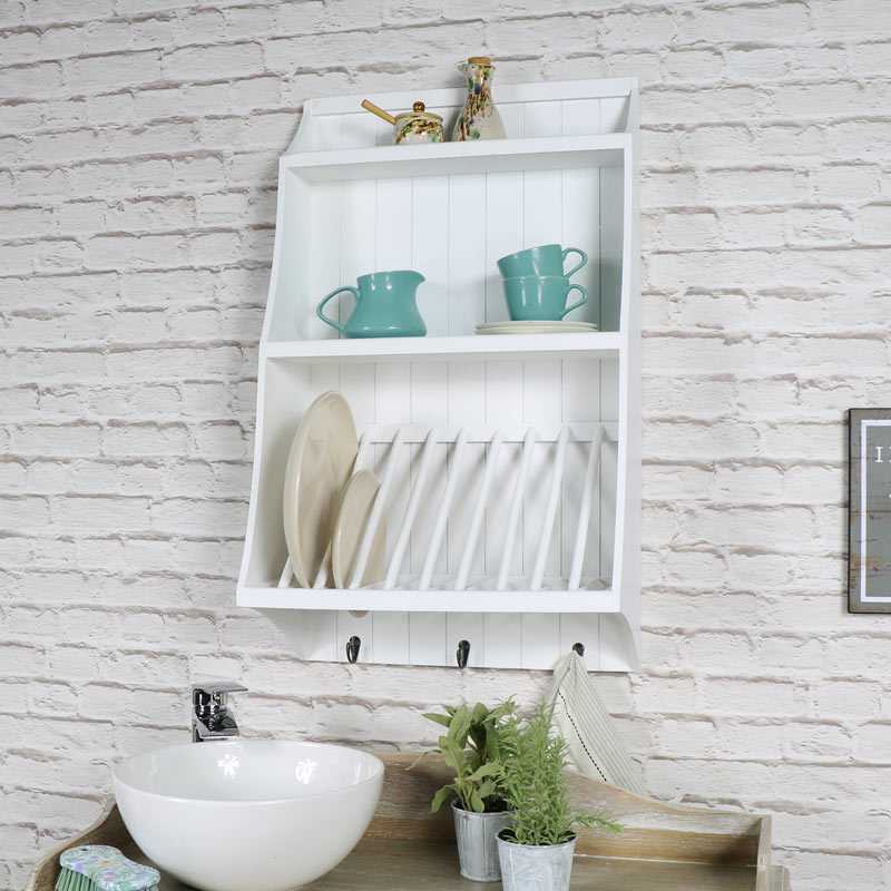 White Wall Mounted Wooden Plate Rack with Hooks ...  sc 1 st  Melody Maison & White Wall Mounted Wooden Plate Rack with Hooks - Melody Maison®