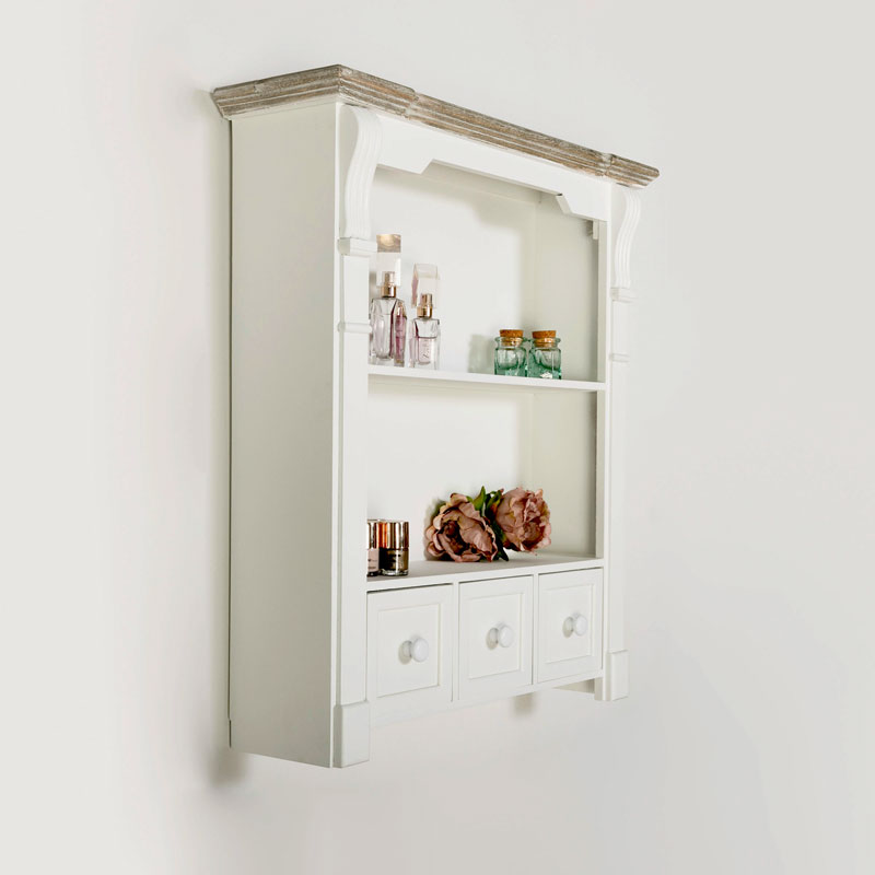 White Wooden Wall Shelf Unit with Drawers