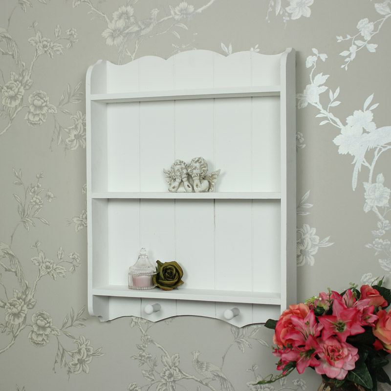 white wall shelf unit with hooks - melody maison®