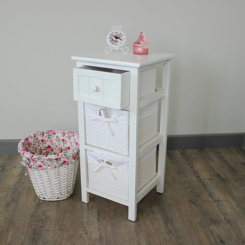 White side cabinet bedside storage unit table basket for Furniture 30cm deep