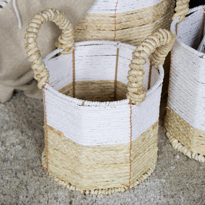White Wicker Basket Storage Set