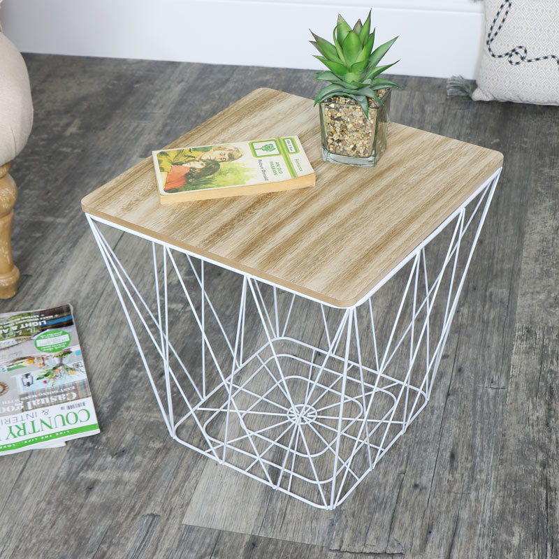 White Wire Metal Square Basket Table