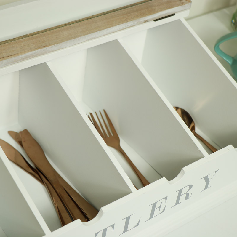 White Wooden Kitchen Cutlery Storage Box