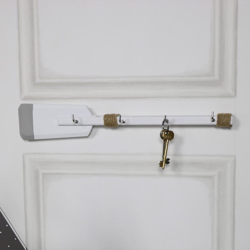 White wooden oar shaped key coat towel wall hook rack for White wall hook rack