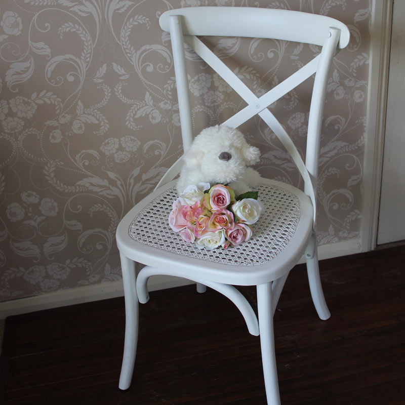 White Wooden Rattan Dining Chair Kitchen Dining Room Shabby Vintage Chic Home