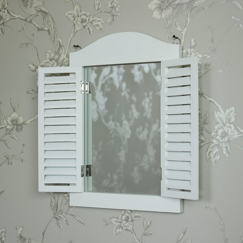White wooden wall mounted shutter mirror shabby vintage for White bedroom wall mirror