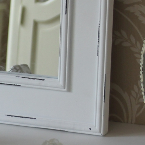 White wooden wall mirror bathroom shabby vintage chic