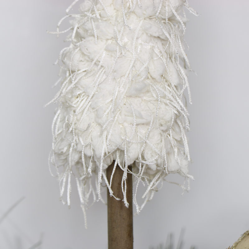 White woolly Christmas Tree Ornament - Small