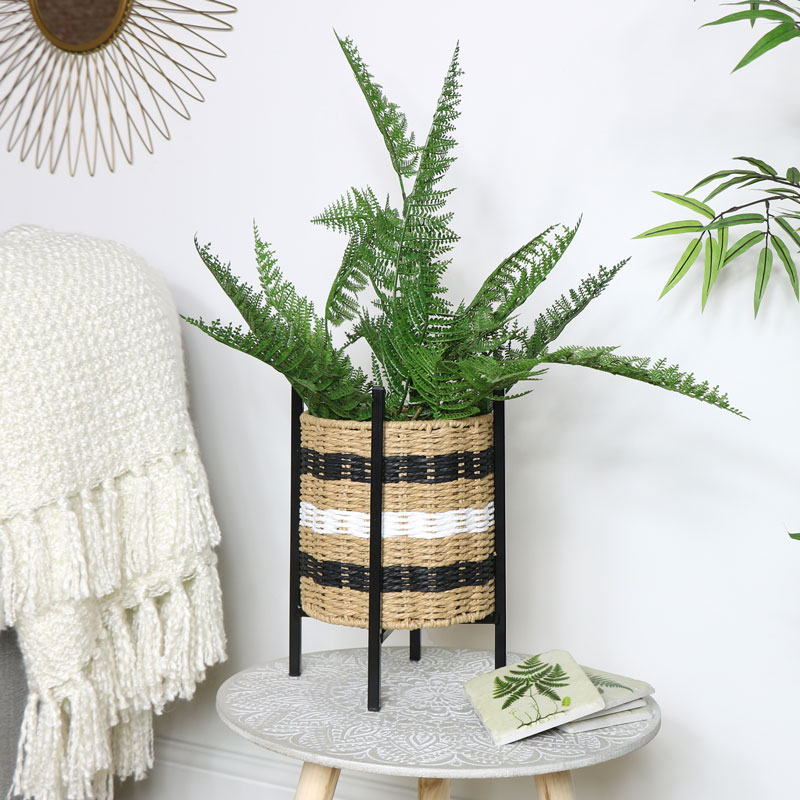 Wicker Basket Planter on Stand