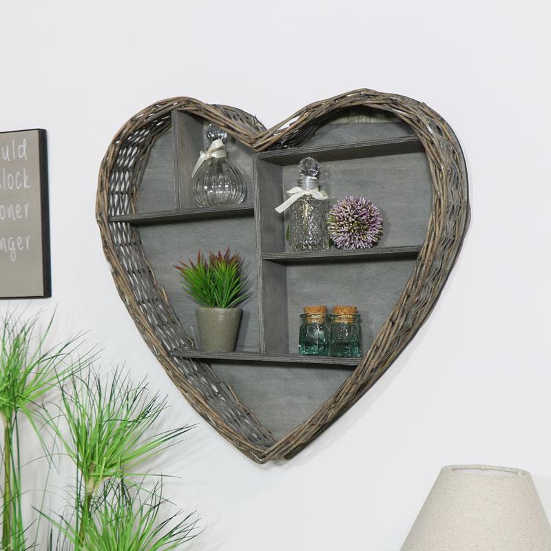 Wicker Heart Wall Shelf