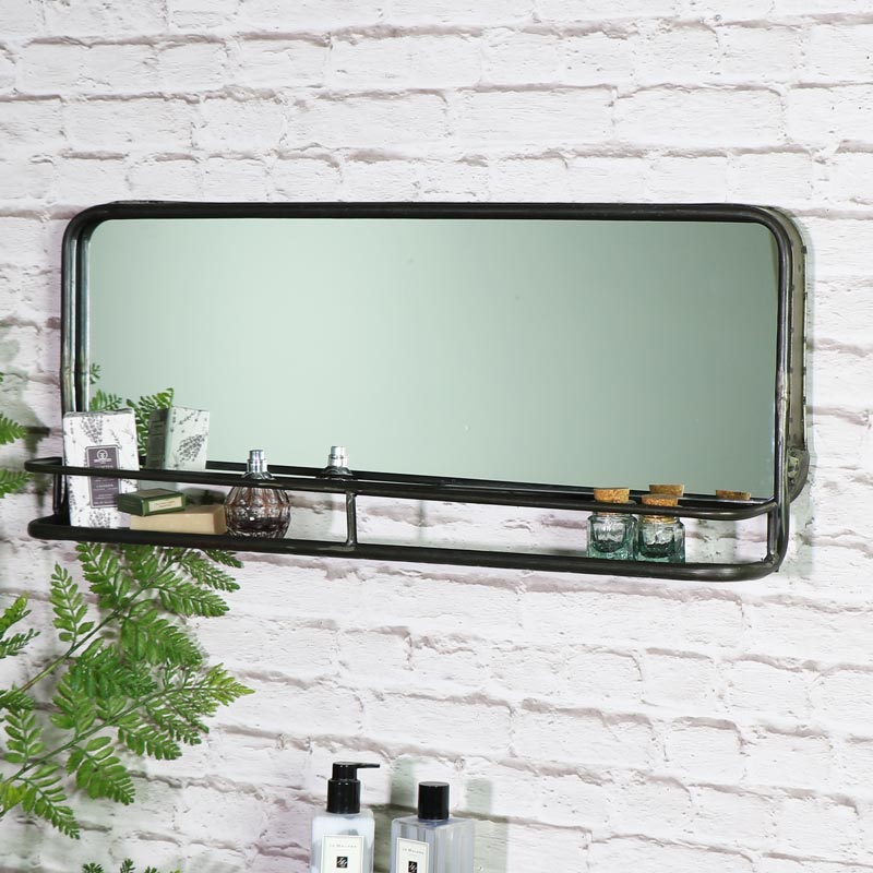 Wide Rustic Grey Mirror with Shelf 75cm x 30cm x 12cm