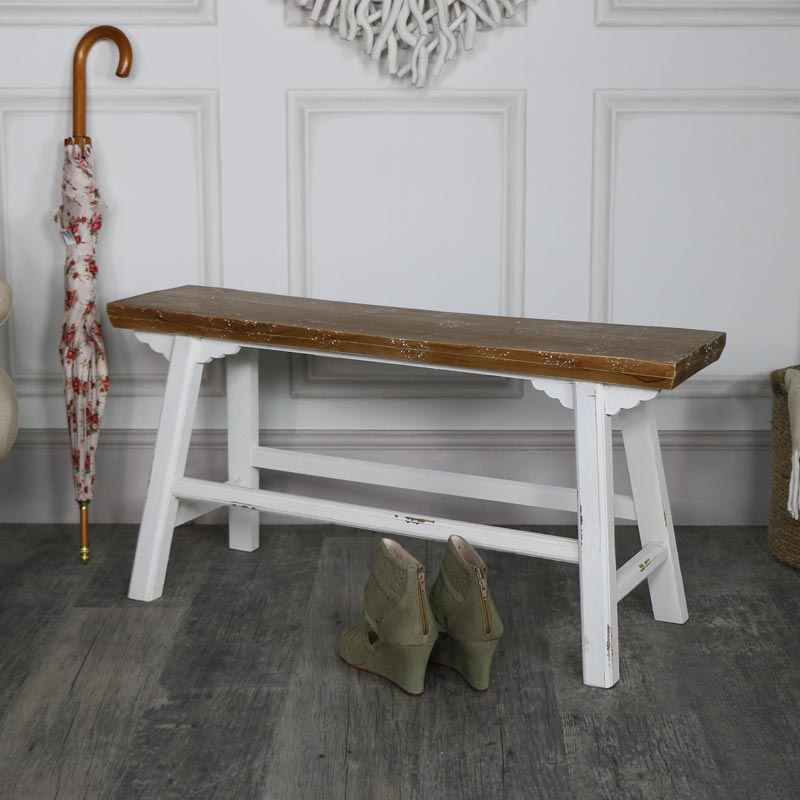 Wide Vintage Wooden Milking Stool/Bench
