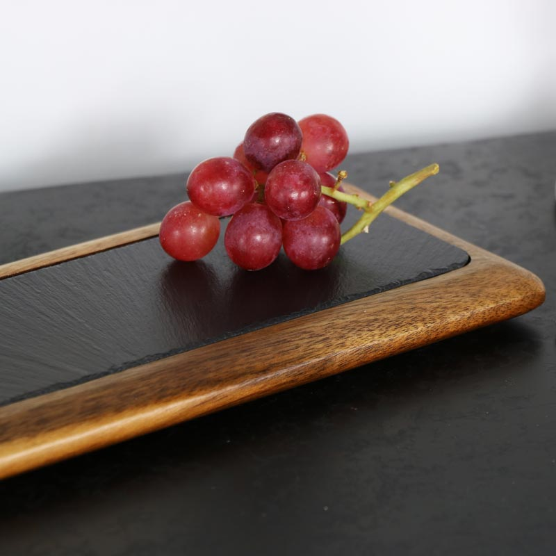 Wooden Acacia & Slate Serving Board with Handle