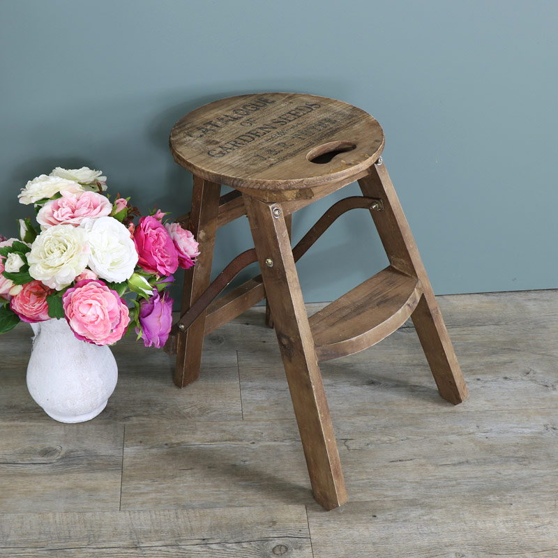 brown wooden vintage style step stool home shabby style