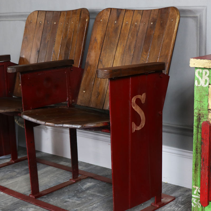 Wooden Cinema Style Twin Seats