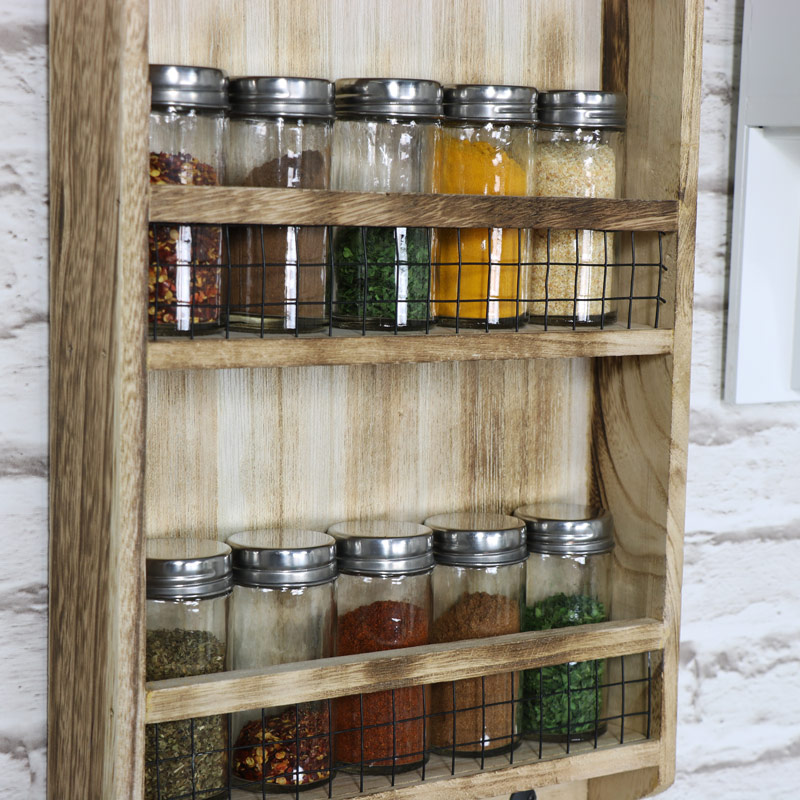 Wooden Heart Spice Rack With Hooks Melody Maison
