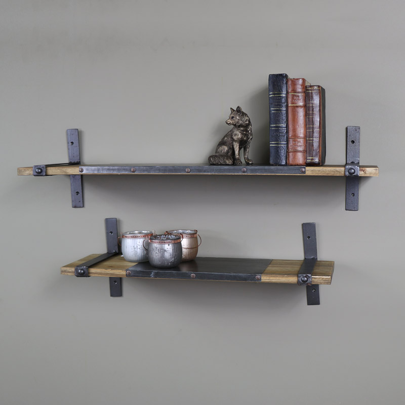 Famous Wooden Industrial Style Pair Of Shelves - Melody Maison® HB06