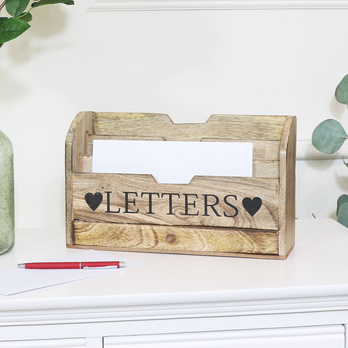 Wooden Letter Rack Organiser with Drawer Storage