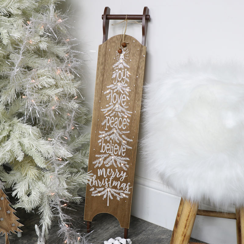 Wooden Merry Christmas Sleigh LED Plaque