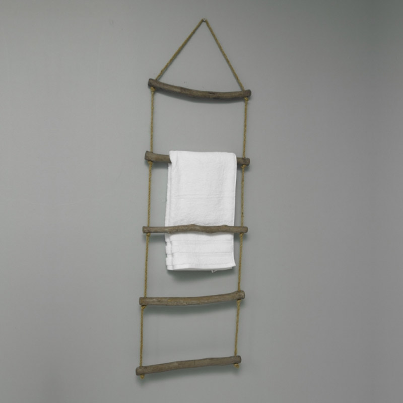 Wooden vintage rope ladder towel rail shabby chic bathroom for Wooden bathroom accessories
