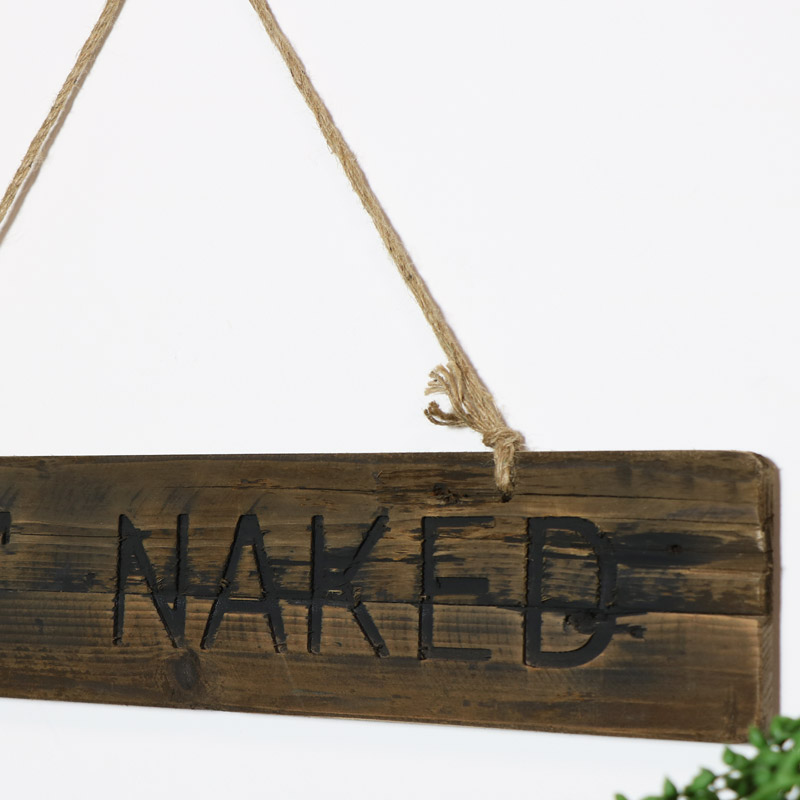 Wooden Wall Plaque - Get Naked