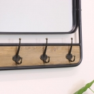 Large Industrial Mirror with Coat Hooks 101cm x 45cm