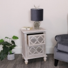 Wooden Lattice Mirrored Bedside Table