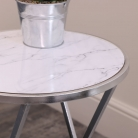 Silver & White Marble Side Table