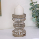 Short Rustic Wooden Candle Holder
