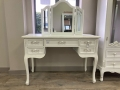 Antique White Dressing Table Desk with Triple Mirror - Pays Blanc Range - DAMAGED SECOND 7899