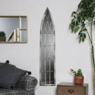 Antique White Tall Slim Arched Wall Mirror
