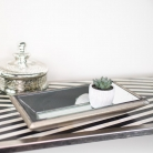 Silver Wooden Mirrored Tray