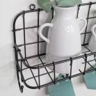Black Basket Shelf With Hooks