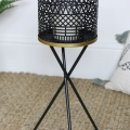 Black Candle Lantern on Tripod Stand
