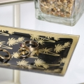 Black & Gold Palm Tree Print Glass Tray