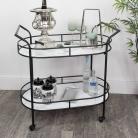 Black & Marble Oval Bar Cart