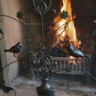 Black Metal Bird & Vine Fire Screen