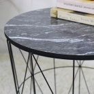 Black Metal Marble Effect Topped Side Table
